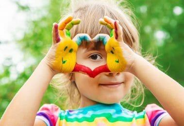autistic girl heart hands
