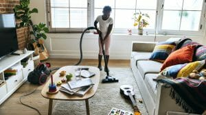 Autistic girl hoovering proprioception