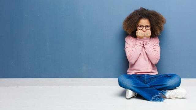 Anxious autistic Asperger teen girl