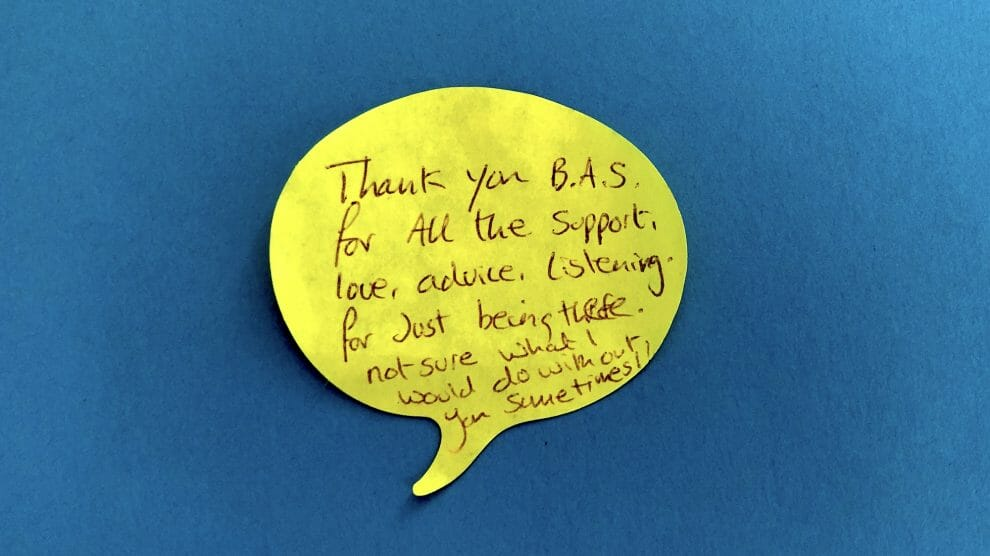 Thank you Bristol Autism Support post it note