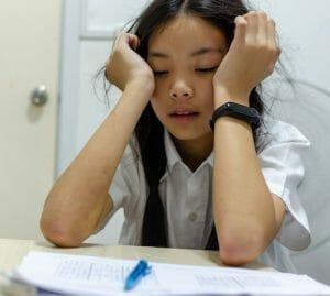 Stressed autistic school girl