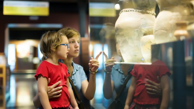 mother and autistic girl in museum